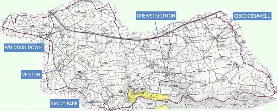 Map of Drewsteignton parish